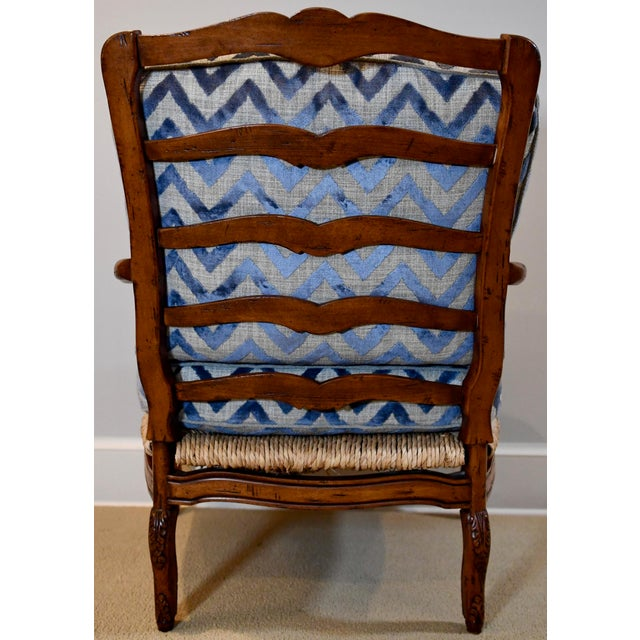 Contemporary Fremarc Design Robert Allen Modern Oversized Contemporary French Bergere Upholstered Club Lounge Chair& Ottoman in Blue / Grey Geometric Zebra Pattern For Sale - Image 3 of 12
