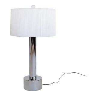 1970s Mid Century Chrome Pillar Table Lamp For Sale