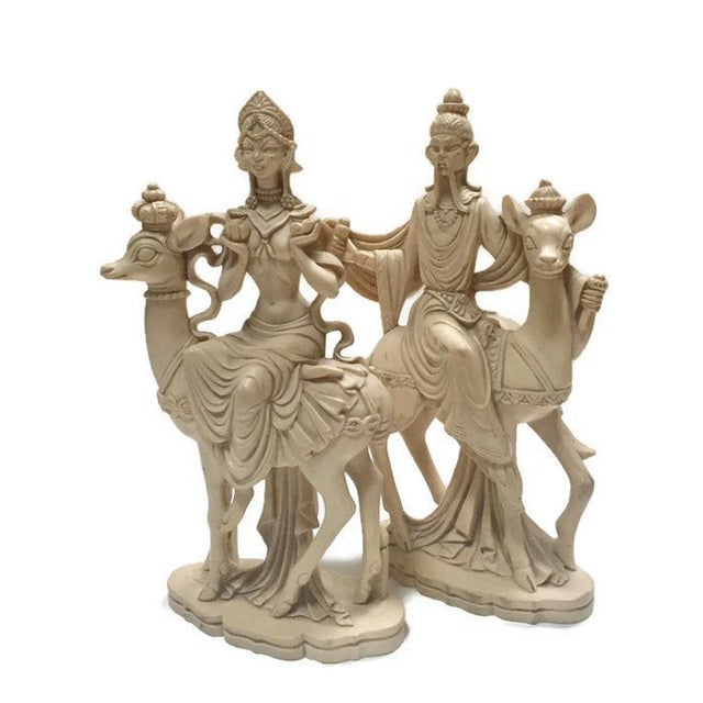 Mid Century Chinoiserie God & Goddess on Deer Statue Set - a Pair For Sale - Image 10 of 13