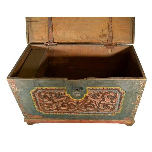 Wood Antique Indonesian Hand-Carved and Painted Trunk with Foliage's, 19th Century For Sale - Image 7 of 9