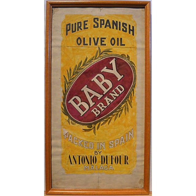 Vintage 1930s-1940s hand-drawn and colored graphic illustration board for olive oil tin can label, Baby Brand Pure Spanish...