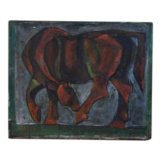 "1954 Vintage E.Romano ""Abstracted Horse"" Oil on Artist Board Painting For Sale"