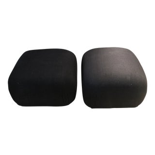 Mid Century Modern Souflée Poufs With Brass Base - a Pair For Sale