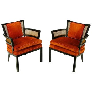 Pair Baker Ebonized Mahogany & Cane Button Tufted Arm Chairs For Sale