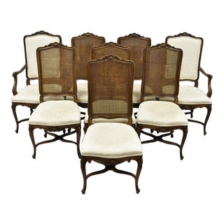 Vintage Mid Century John Widdicomb Walnut Cane Back Dining Chairs- Set of 8 For Sale