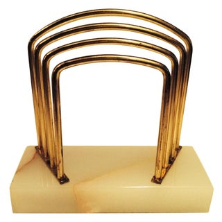 Art Deco Marble & Brass Mail Holder