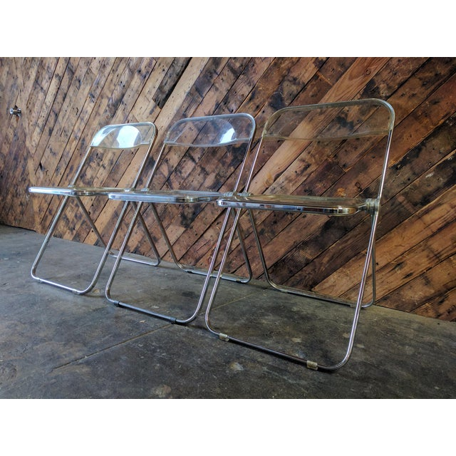 Piretti for Castelli 1970s Lucite and Chrome Folding Chairs - Set of 3 - Image 3 of 6