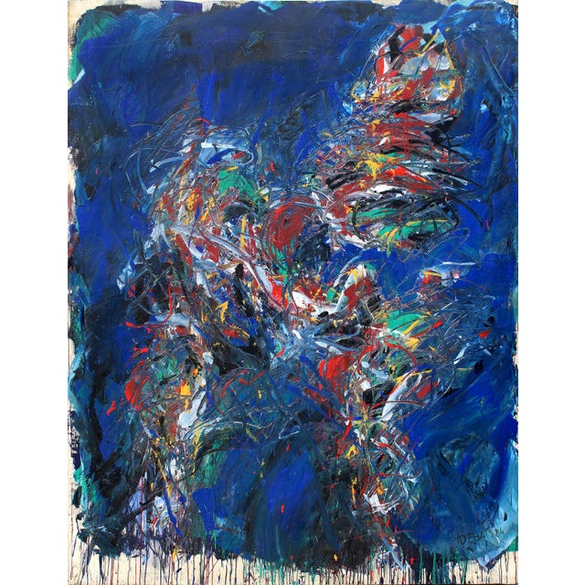 """Black Monumental Abstract Oil on Canvas Titled """"Figure"""" Signed Dehais, Dated 1984 For Sale - Image 8 of 8"""
