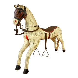 19th Century Childs Painted Wood Carousel Horse For Sale