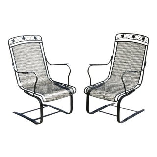 Vintage Mid Century Russell Woodard Wrought Iron Patio Chairs- A Pair For Sale