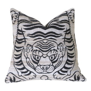 Woven Chenille Tiger Pillow Cover 16x16 For Sale