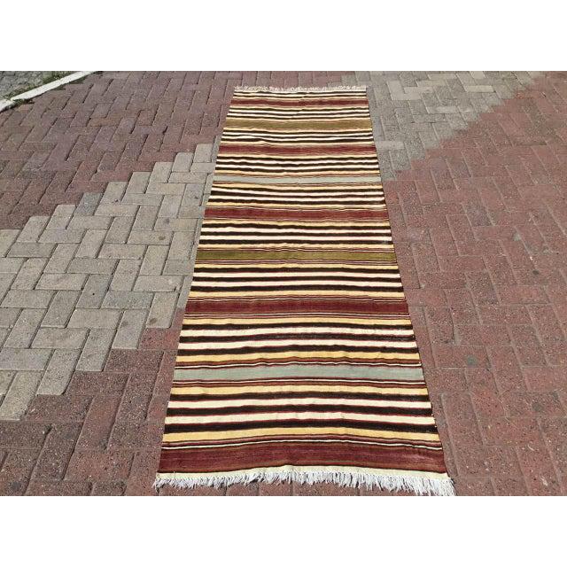 Vintage Striped Turkish Kilim Runner Rug For Sale - Image 9 of 9