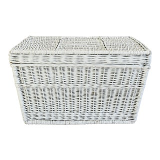 Vintage White French Wicker Trunk Coffee Table W/ Woven Handles