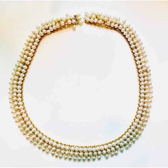 8e6361380f1 Super rare dangling pearls attached to gold metal belt