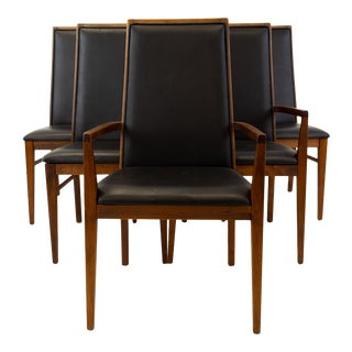 Vintage Mid Century Merton Gershun for Dillingham Walnut Dining Chairs- Set of 6 For Sale