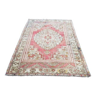 "1950s Vintage Turkish Oushak Rug-4'x7'5"" For Sale"