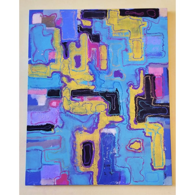 This is a oil and oil pastel painting on canvas. It is colorful abstract painting that appears to be inspired by a...