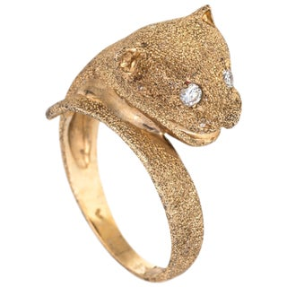 Leopard Cat Ring Vintage 14 Karat Yellow Gold Diamond Eyes Fine Estate Jewelry For Sale