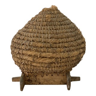 French Bee Skep on Wooden Platform For Sale