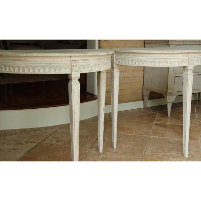 Mid 19th Century 19th Century Pair of Swedish Gustavian Bedside Demilune Console Tables For Sale - Image 5 of 9
