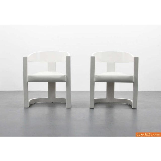 "White 1980s Vintage Karl Springer ""Onassis"" Arm Chairs- Set of 4 For Sale - Image 8 of 10"