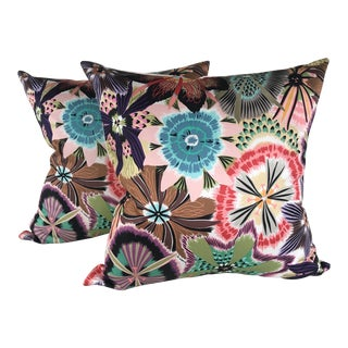 Missoni Home Pink Passiflora Pillows - A Pair For Sale