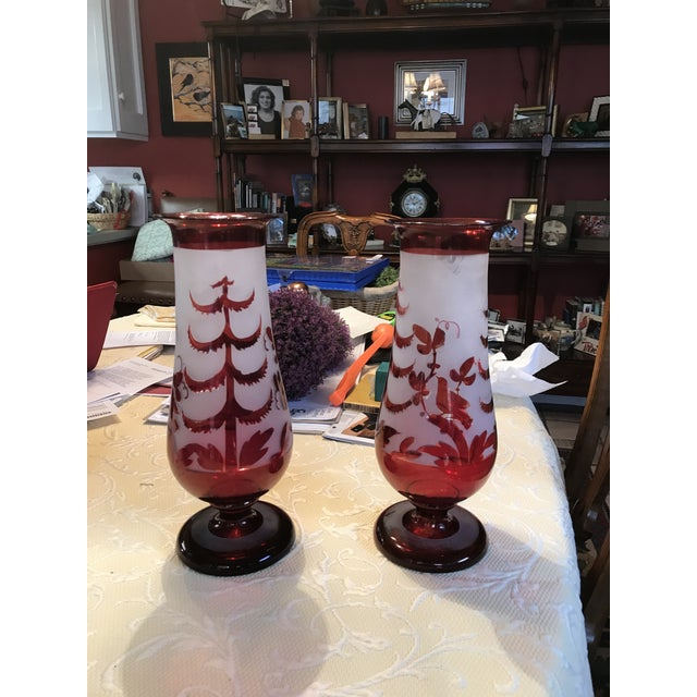 Antique Cranberry Red Hand Blown Glass Vases - A Pair For Sale - Image 5 of 5