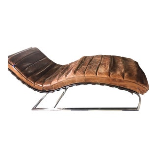 Distressed Brown Leather With Stainless Steel Base Lounger For Sale
