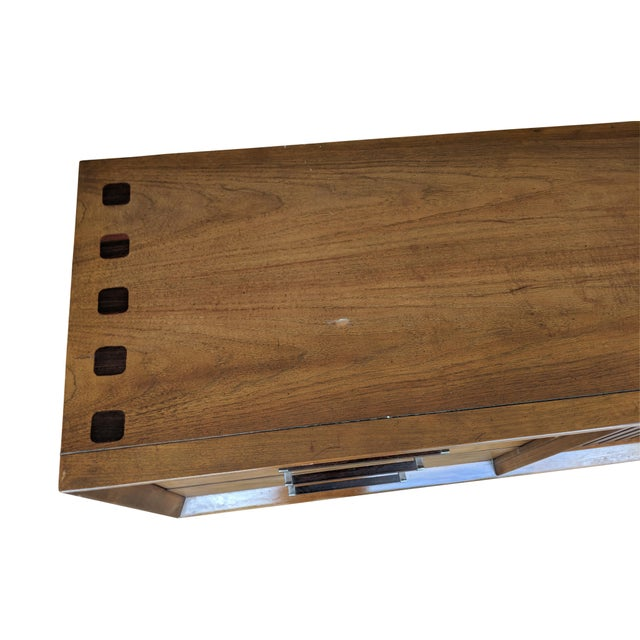 1970s Mid Century Modern Lane Furniture Rosewood and Walnut Small Credenza For Sale In Miami - Image 6 of 8