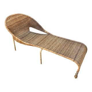 Vintage Curved Wicker Lounger For Sale