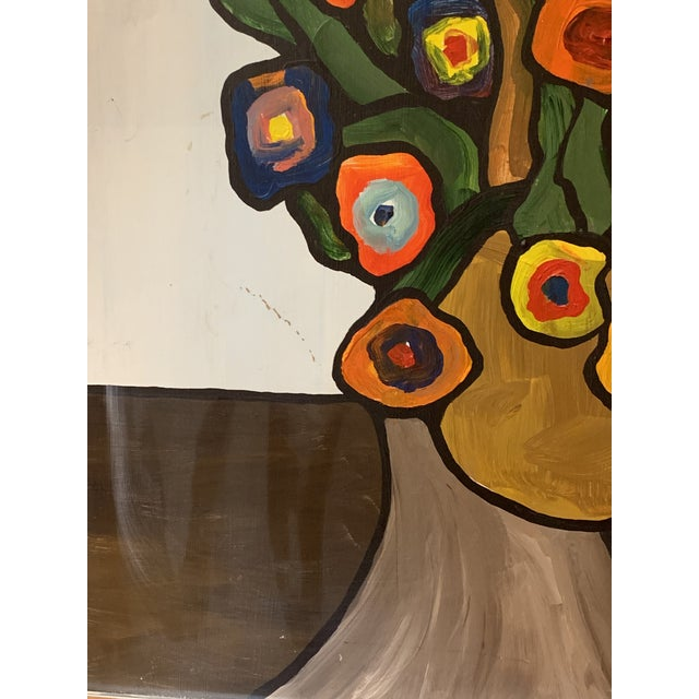 Metal Vintage 1970's Abstract Original Flowers Oil Painting Signed Hawthorne For Sale - Image 7 of 10
