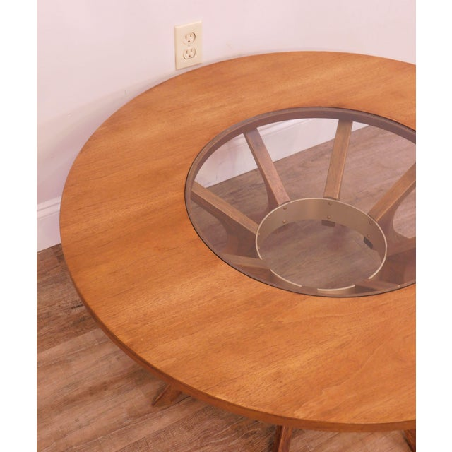 Brown Broyhill Brasilia Mid Century Modern Walnut Cathedral Coffee Table For Sale - Image 8 of 12