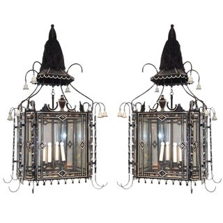 Pair of Black and White Tole Lanterns For Sale