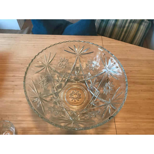 Anchor Hocking Anchor Hocking Star of David Punch Bowl Set For Sale - Image 4 of 10