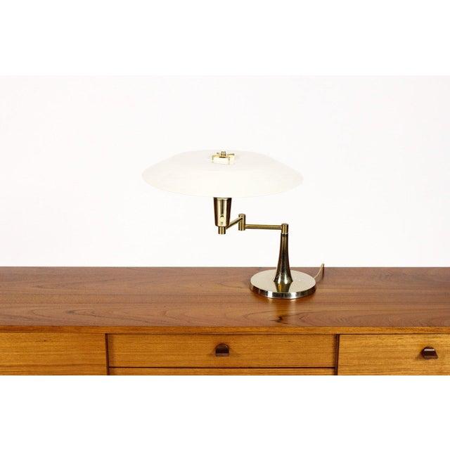 Danish Modern Mid Century Vintage Brass Swing Arm Table Desk Lamp For Sale - Image 3 of 6