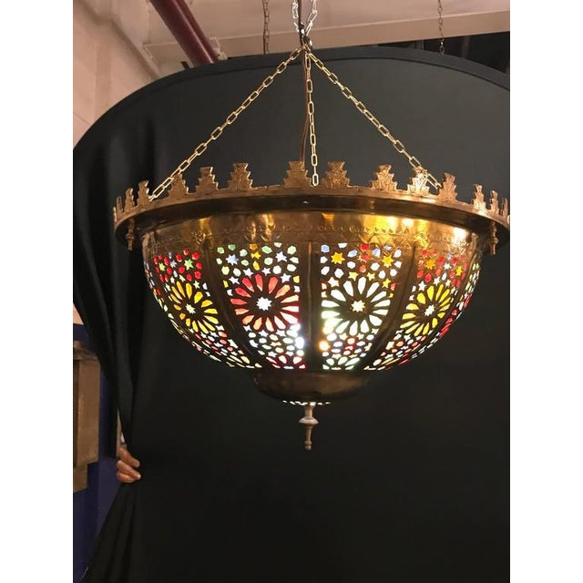 Tiffany Fashioned Hand-Hammered Brass and Colored Glass Light Fixture - Image 2 of 8