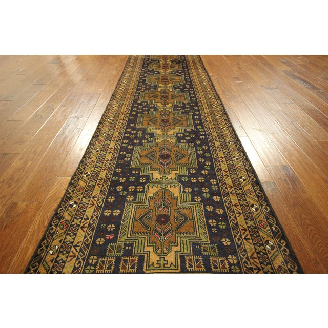 "Navy & Tan Balouch Runner Rug - 2'11"" x 9'9"" - Image 6 of 10"