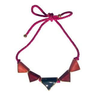 Vintage Pink CEramic Necklace For Sale