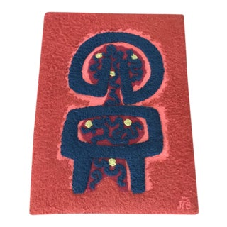 """Vintage Custom Handcrafted Costa Rican Art Rug - 2'6"""" x 3'4"""" For Sale"""