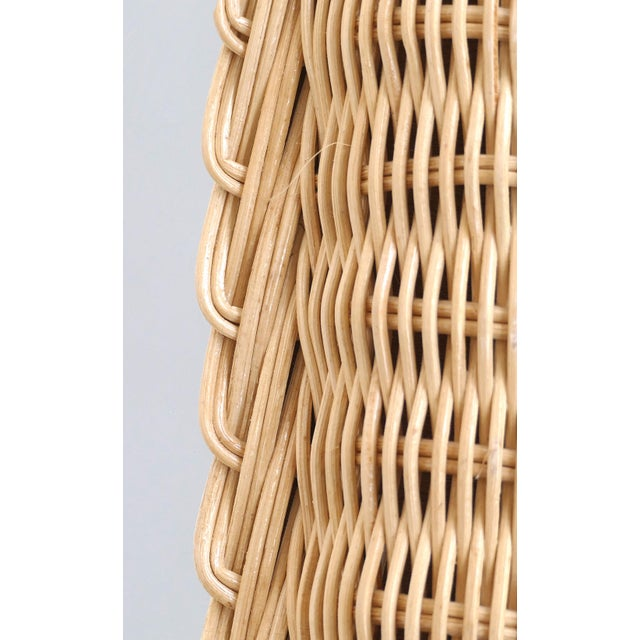 Overscale Vintage Elongated Woven Wicker Wall Mirror For Sale In Miami - Image 6 of 7