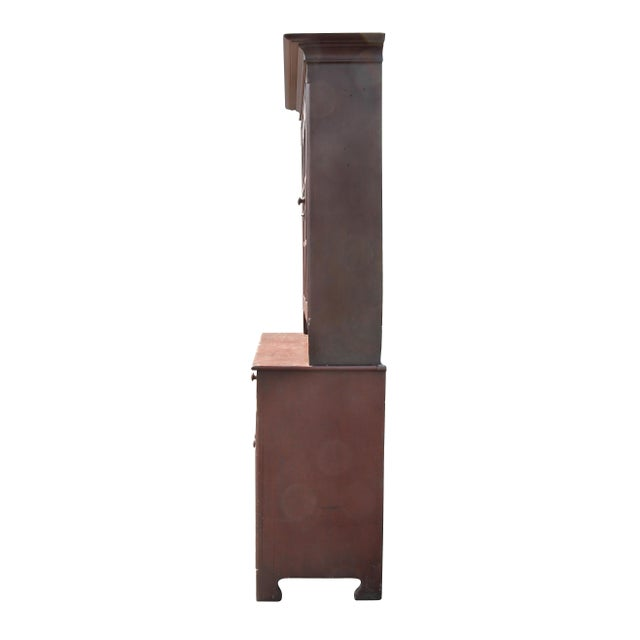 Brown American Red Painted Two Part Cupboard For Sale - Image 8 of 10