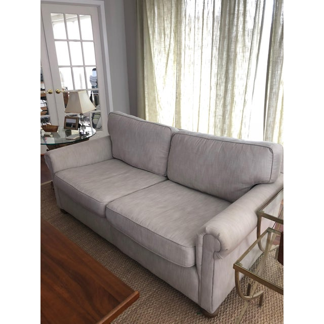 This gently-used two-seat Restoration Hardware fabric sofa is Perennials Classic Linen Weave in Sand. The is a standard...