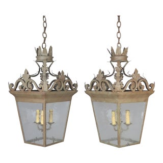 Spanish Hand-Wrought Iron Lanterns With Pitted Glass, Pair For Sale