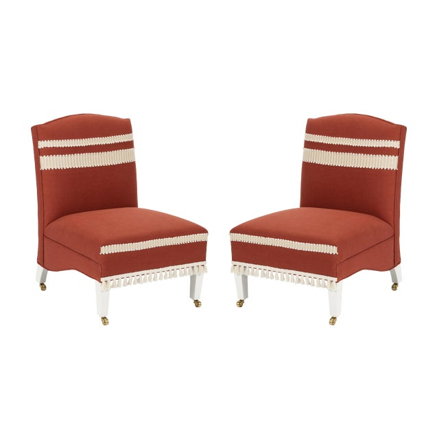 Casa Cosima Sintra Chair in Paprika Linen, a Pair For Sale
