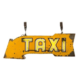 Bright Yellow Double-sided Neon Taxi Sign Circa 1950s
