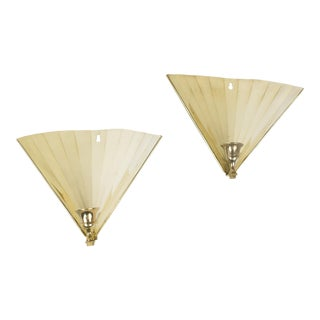1960s Hollywood Regency Brass Fan Candle Sconces - a Pair