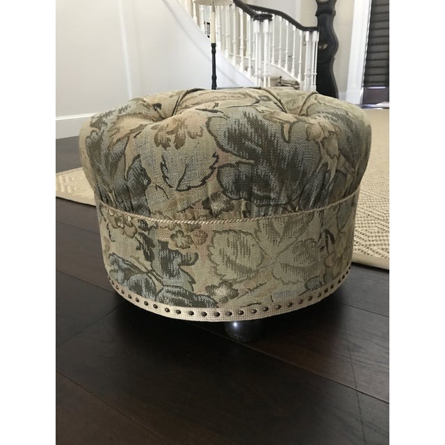 Vintage Fabric Upholstered Foot Stool/Ottoman For Sale - Image 13 of 13
