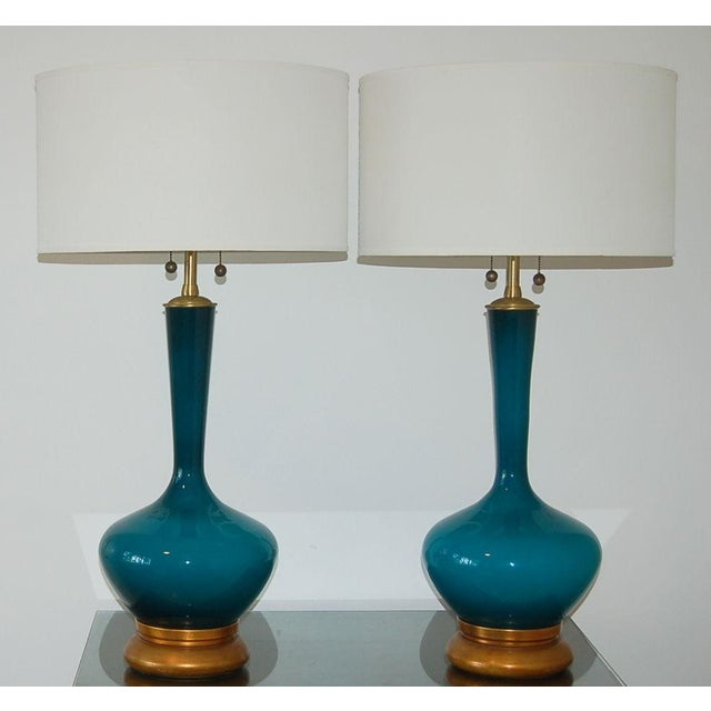 1950s Vintage Marbro Handblown Swedish Glass Table Lamps- A Pair For Sale - Image 9 of 9