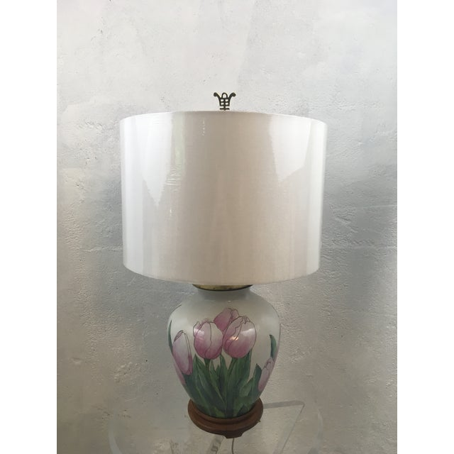 White Vintage Tulip Lamp With New Shade For Sale - Image 8 of 8