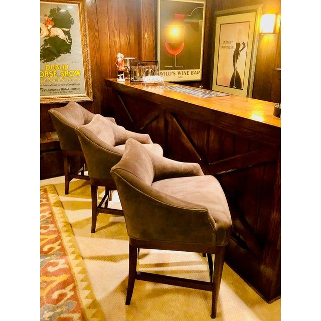Vanguard Furniture Vanguard Furniture Contemporary Suede Bar Stools -Set of 3 For Sale - Image 4 of 11
